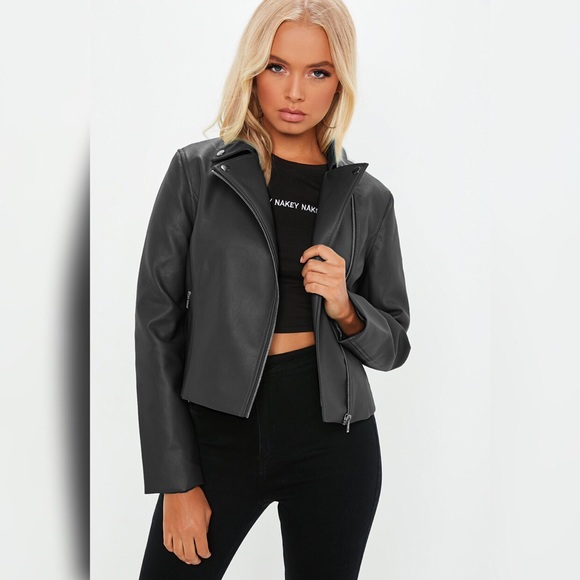 Misguided Faux Leather Black Biker Jacket.